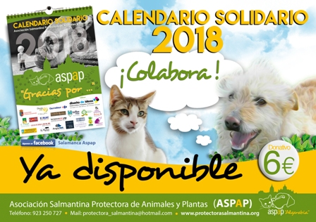 EL CALENDARIO SOLIDARIO 2018 DE ASPAP YA ESTÁ DISPONIBLE