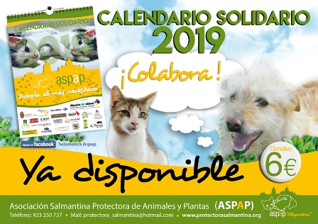 LOS CALENDARIOS SOLIDARIOS ASPAP 2019 YA DISPONIBLES